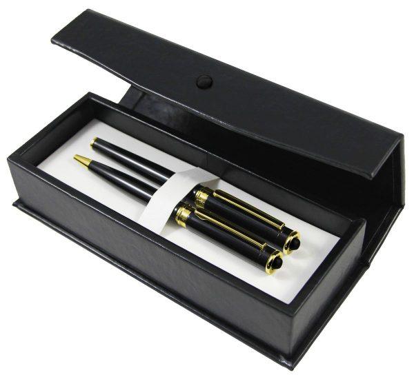 Pióro wieczne i długopis GT zdobione węglem kamiennym
